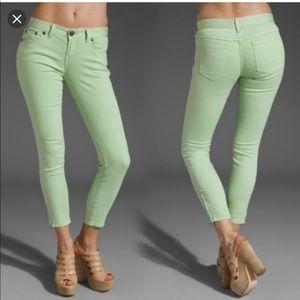 Free People Millennium Ankle Zip Mint Green Jeans